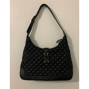 Talbots black quilted leather shoulder handbag